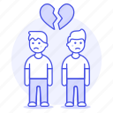 lgbt, couple, sadness, broken, relationship, ending, gay, heart, men, breakup, separation icon