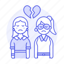 lgbt, couple, sadness, broken, relationship, ending, breakup, women, heart, lesbians, separation icon