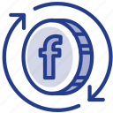 circulating, coin, digital, facebook, libra, libracoin, money icon