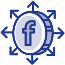 digital, facebook, grow, libra, libracoin, money, social network icon