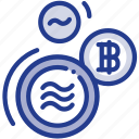 bitcoin, coin, digital, facebook, libra, libracoin, money icon