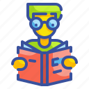 avatar, book, education, library, reading, school, user