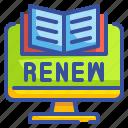 book, computer, library, loan, online, renew, school