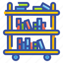 book, cart, education, library, school, shelf, trolley icon
