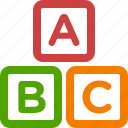 abc, alphabet, blocks, cubes, learning, letters, toy icon