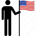 american, flag, holding, nationalism, patriotism, person, states, united