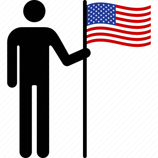american, flag, holding, nationalism, patriotism, person, states, united icon