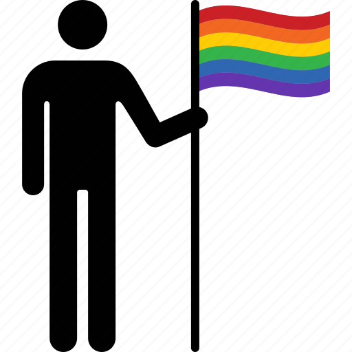 flag, gay, holding, man, person, pride, rainbow icon