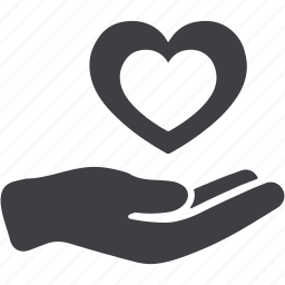 favorite, give, hand, heart, in love, love, share icon