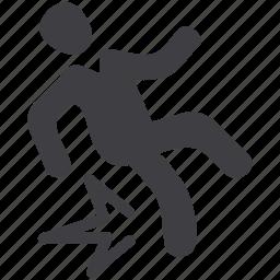 accident, crash, fall, fallen, insurance, risk, slip icon