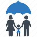 family insurance, life insurance, protection, umbrella icon