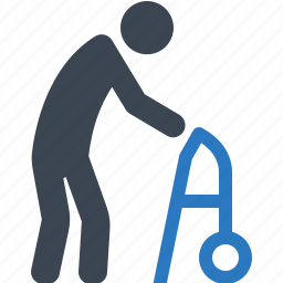 life insurance, long term care, medical help, old man, walker icon