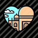 taj mahal, masque, lifestyle, heart, love, romantic, india icon