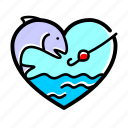 fishing, fish, lifestyle, heart, love, water, drop