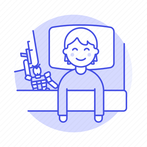 1, bed, bedroom, bedtime, blanket, boy, figure, kid, lifestyle, male, pillow, rest, sleeping, toy icon