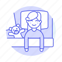 bed, bedroom, bedtime, blanket, boy, female, figure, kid, lifestyle, pillow, rest, sleeping, toy