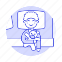 bedroom, lifestyle, blanket, toy, bedtime, robot, rest, female, pillow, sleeping, boy, bed, kid