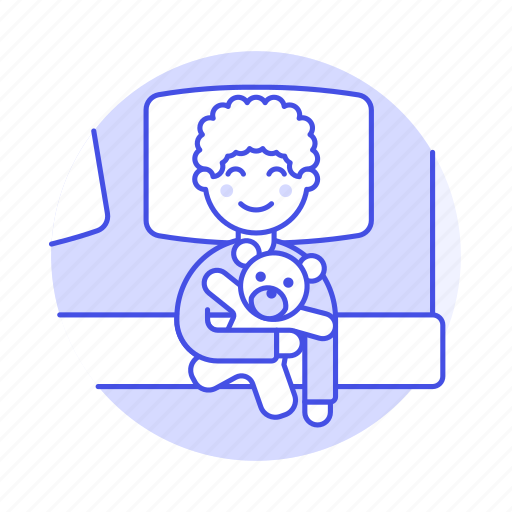 2, 3, bed, bedroom, bedtime, blanket, boy, female, kid, lifestyle, pillow, rest, robot, sleeping, toy icon