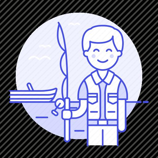 1, boat, body, fisherman, fishing, lifestyle, male, rod, sport, trip, water, watercraft icon