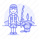 2, bucket, female, fisherman, fishing, lifestyle, rod, sport, trip icon
