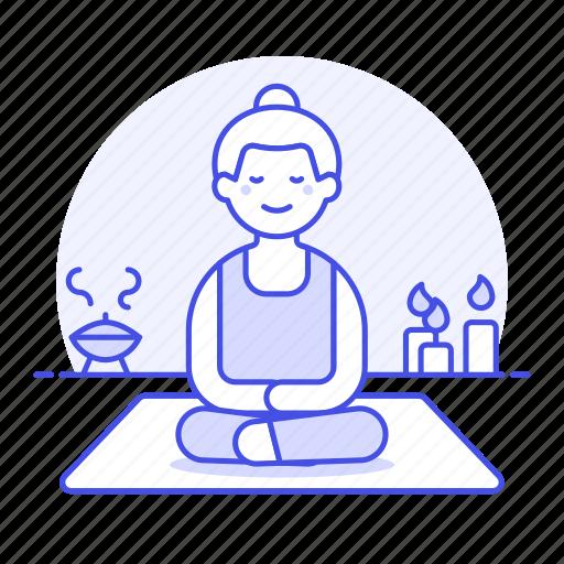 2, aromatherapy, balance, candle, female, lifestyle, meditation, relaxation, spa, yoga, zen icon