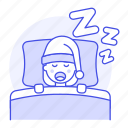 bed, deep, female, lifestyle, night, pajamas, pillow, sleep, sleeping, snoring, zzz icon