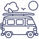 retro, minivan, travel, summer icon