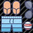 beach, shorts, slippers, summer