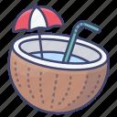 coconut, drink, milk, summer