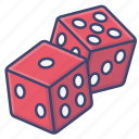 dices, casino, dice, gambling icon