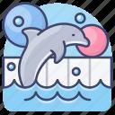 quarium, dophin, park, show icon