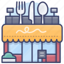 restaurant, cafe, building, deli icon