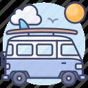 retro, minivan, travel, summer