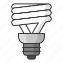 bright, bulb, electric, light, lightbulb, spiral bulb icon