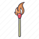 burn, burning, cartoon, danger, fire, match, object icon