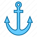 anchor, boat, navy, object, ocean, sea, ship icon