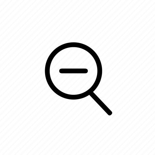 find, glass, line, magnifier, minus, view, zoom icon