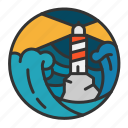 light, lighthouse, ocean, sea, storm, wave icon