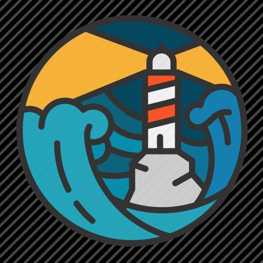 light, lighthouse, ocean, sea, storm, wave icon