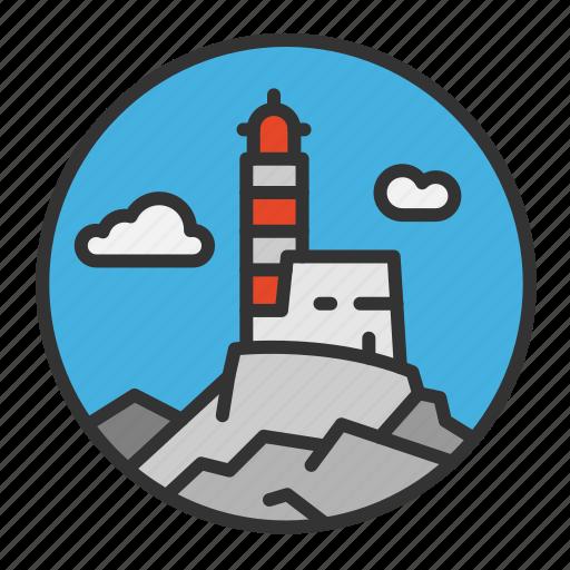 light, lighthouse, ocean, rock, sea icon