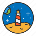 earth, light, lighthouse, moon, ocean, sea, space icon