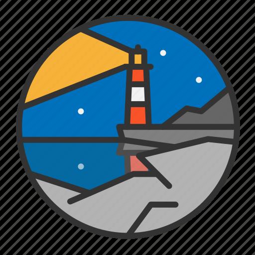 light, lighthouse, night, ocean, rock, sea icon