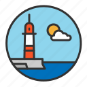 day, light, lighthouse, ocean, sea icon