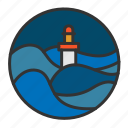 light, lighthouse, ocean, sea, wave icon