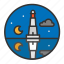 light, lighthouse, night, ocean, sea icon