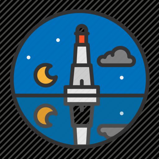 light, lighthouse, night, ocean, sea icon