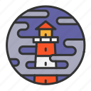 fog, light, lighthouse, ocean, sea icon