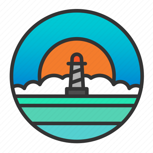light, lighthouse, ocean, sea, sun, sunset icon
