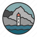 light, lighthouse, ocean, rock, sea icon