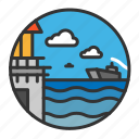 cloud, light, lighthouse, ocean, sea, ship icon